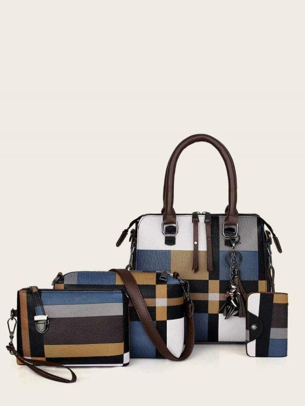 Colorful checkered shoulder bag set