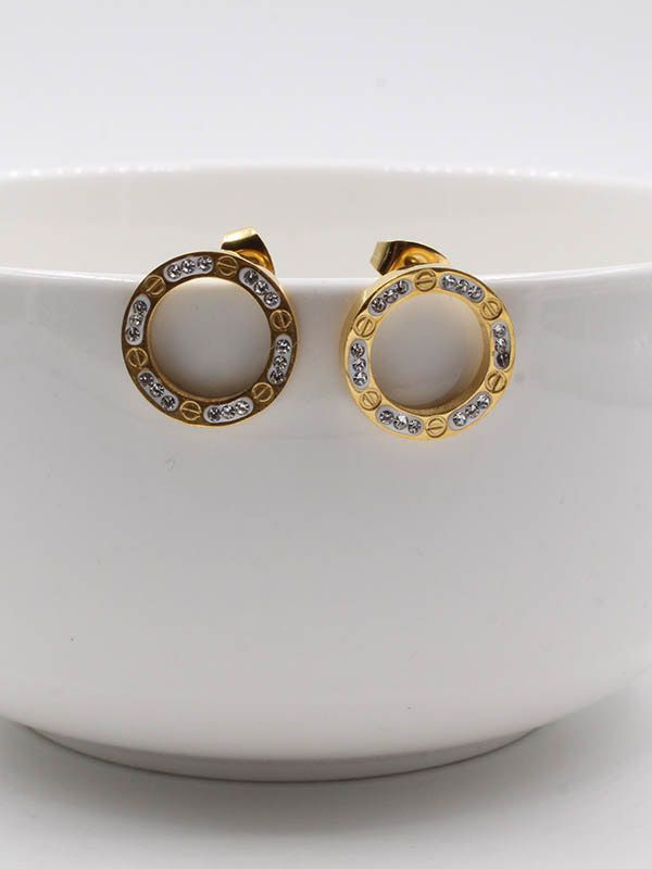 Round crystal cartier earring