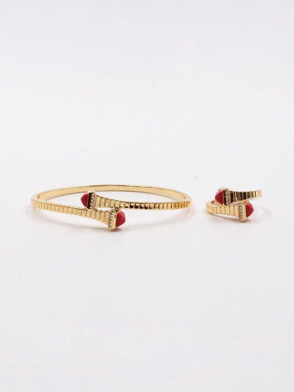 Marley bracelet and ring, colored stone