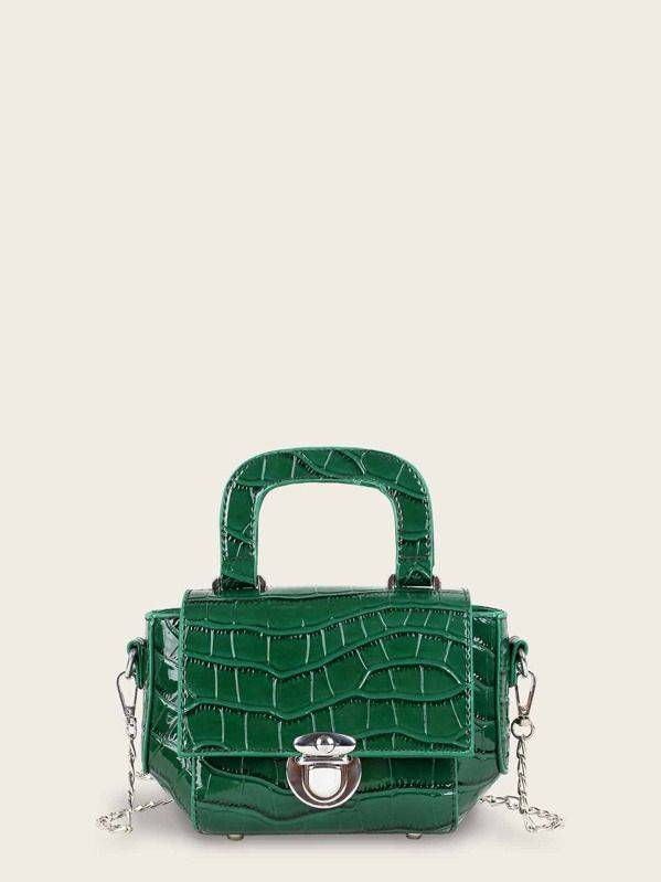 حقيبة كتف خضراء جلد السلحفاة