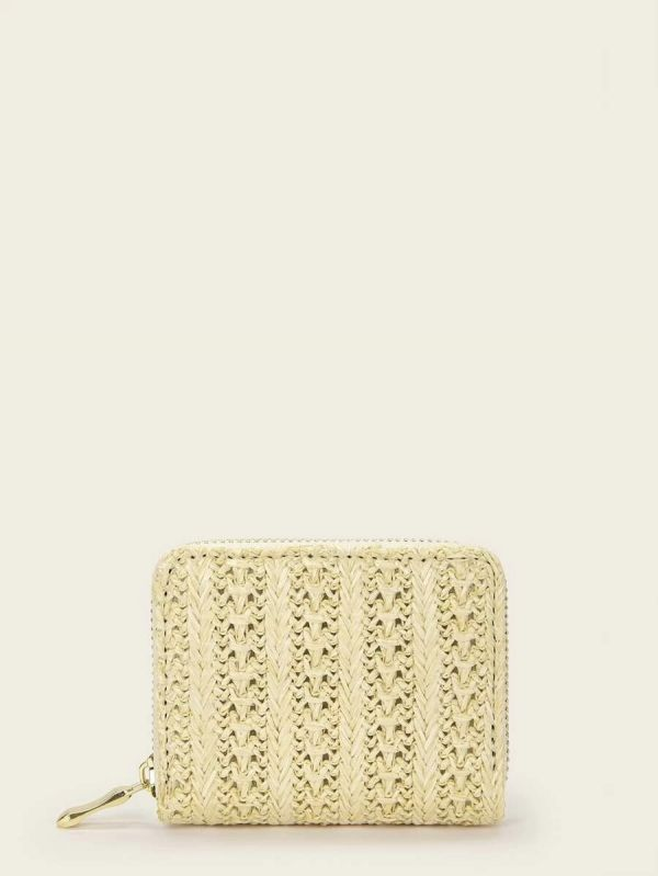 Beige braided wallet