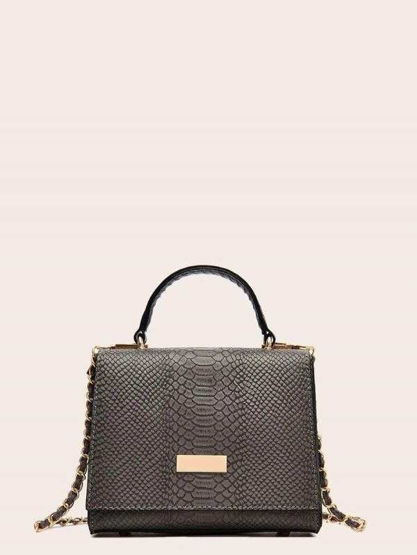 Snake skin embroidered shoulder bag