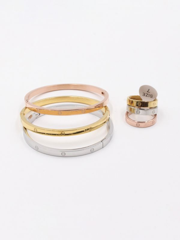 Cartier bracelets and thin rings