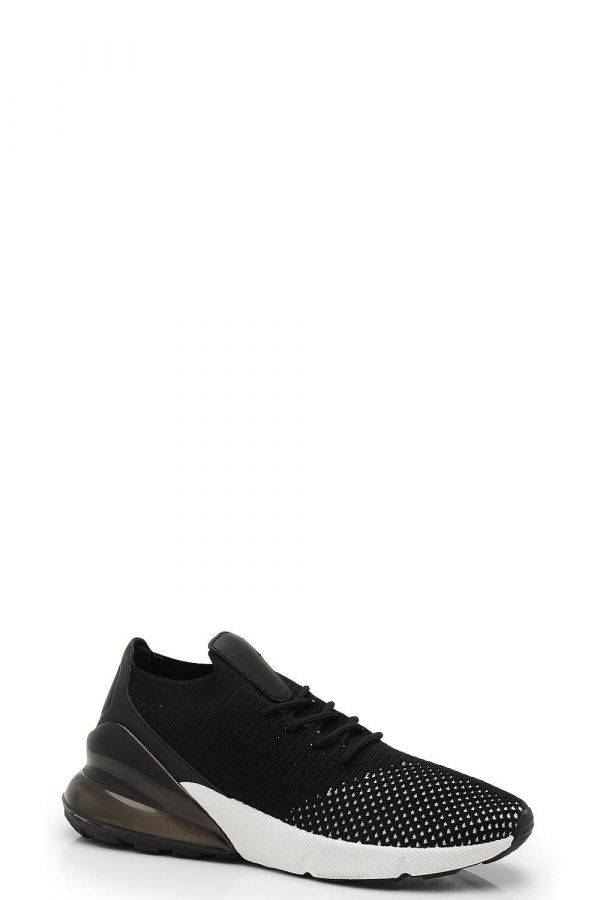 Black women's knitted sneakers