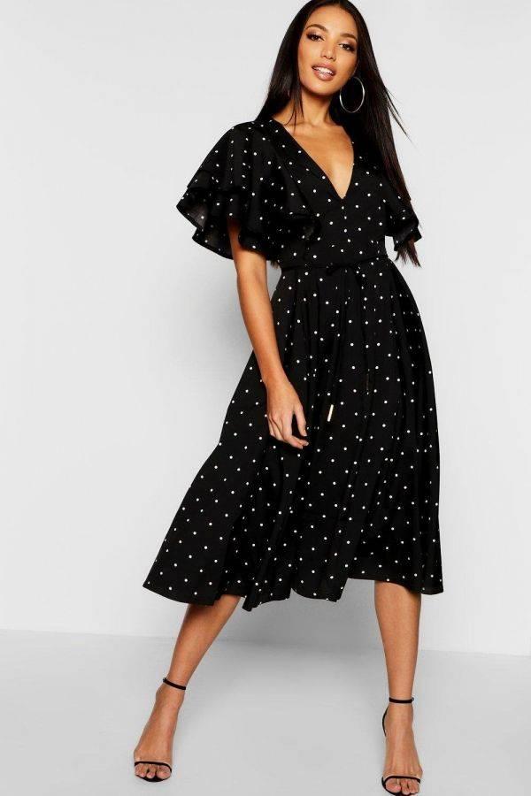 Polka Dot Angel Mini Sleeve Polka Dot Dress