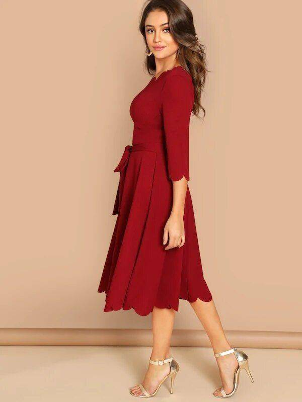 Wide midi dress with belt
