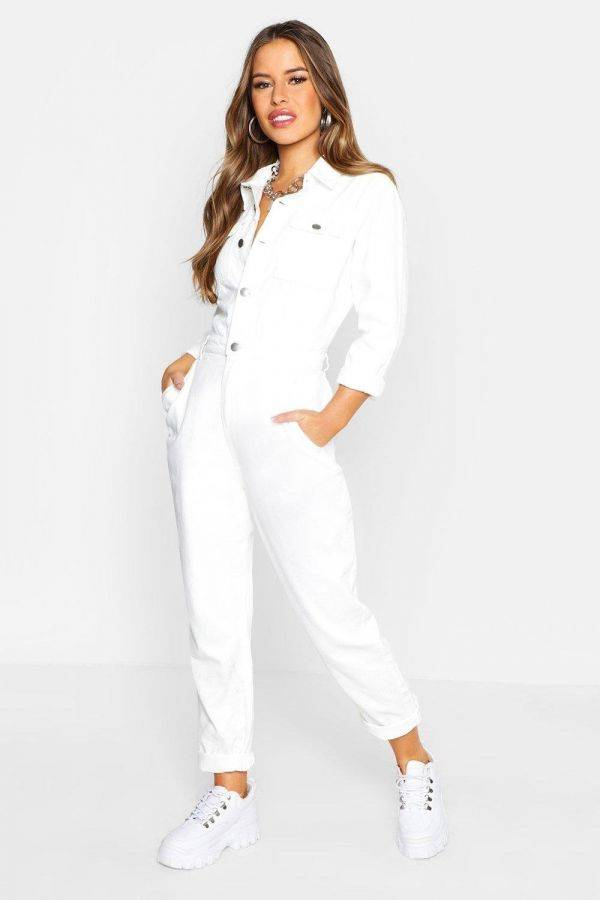 White Boho Jumpsuit Petite