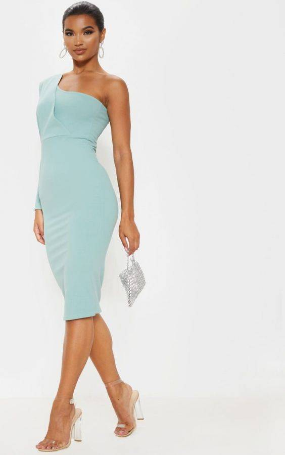 Pretty One Shoulder Midi Dress
