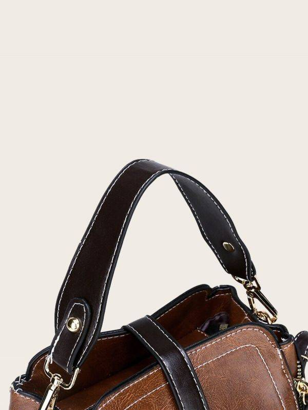 حقيبة جلد بني فاخر بتعليقة دب-3