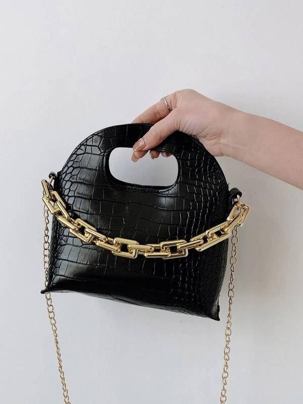 حقيبة بنقش جلد تمساح-2