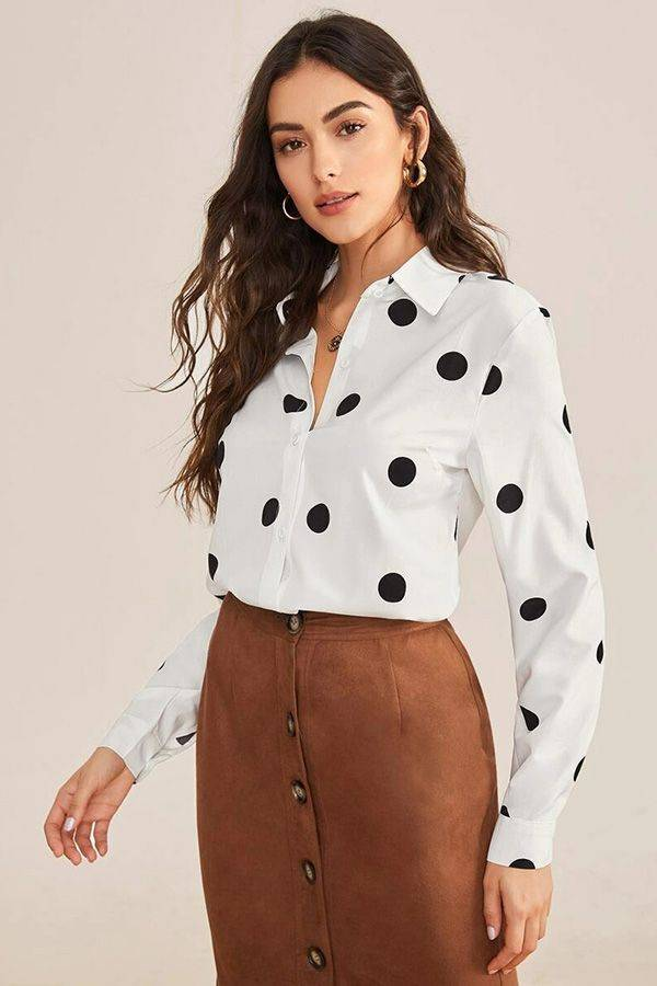 White blouse with dotted buttons