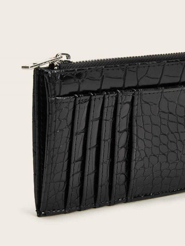 محفظة نسائية جلد التمساح مع حامل بطاقة-2