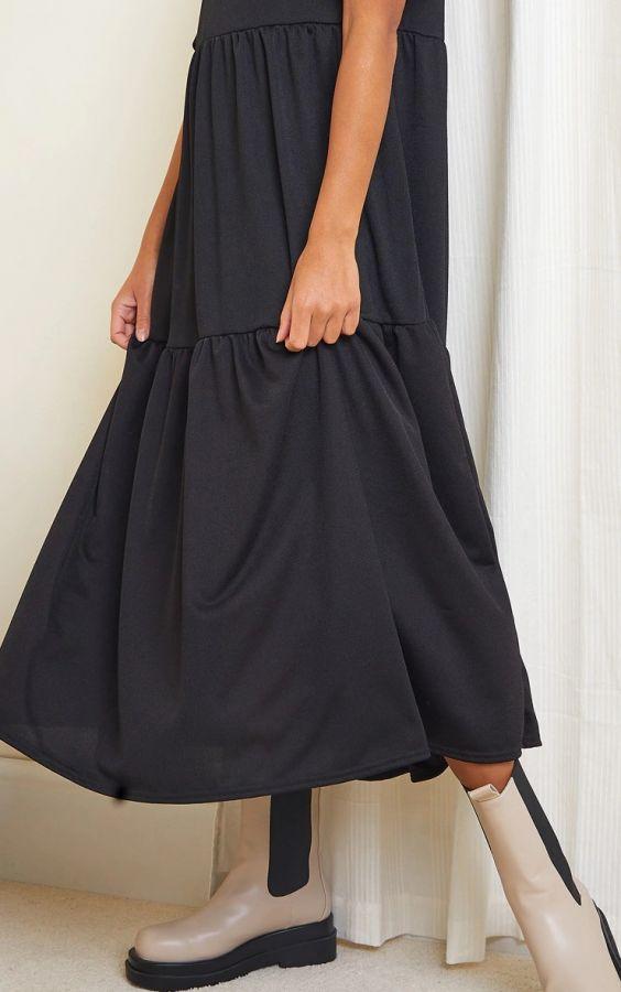 فستان أسود متوسط الطول بأكمام قصيرة بوف-3