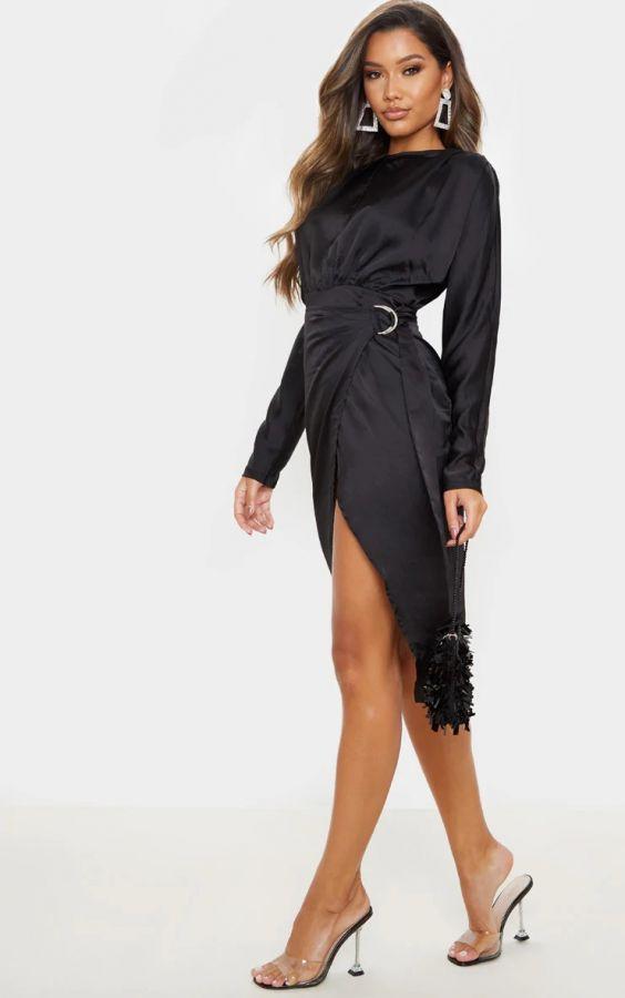 فستان ساتان ميدي-2
