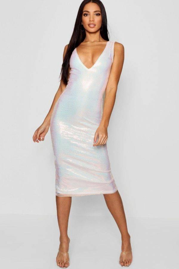 فستان ميدي براق