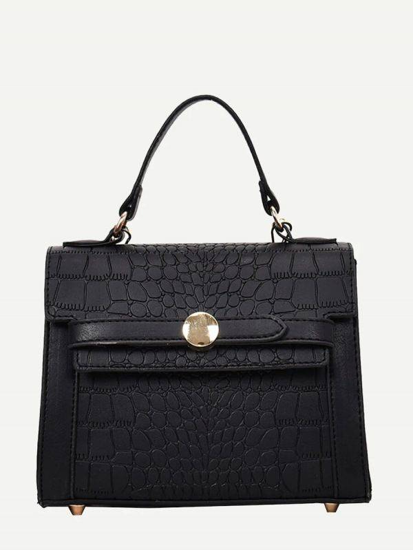 An elegant bag with a snake skin
