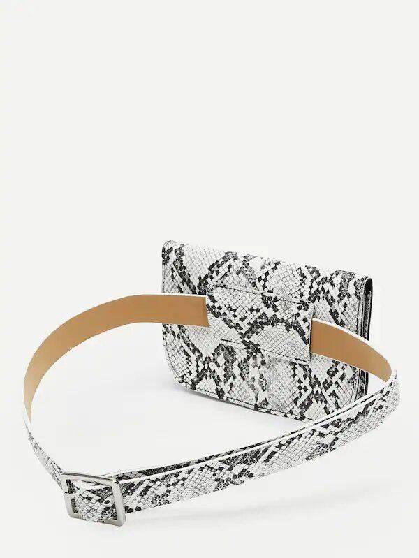 Snake leather bag with waist belt