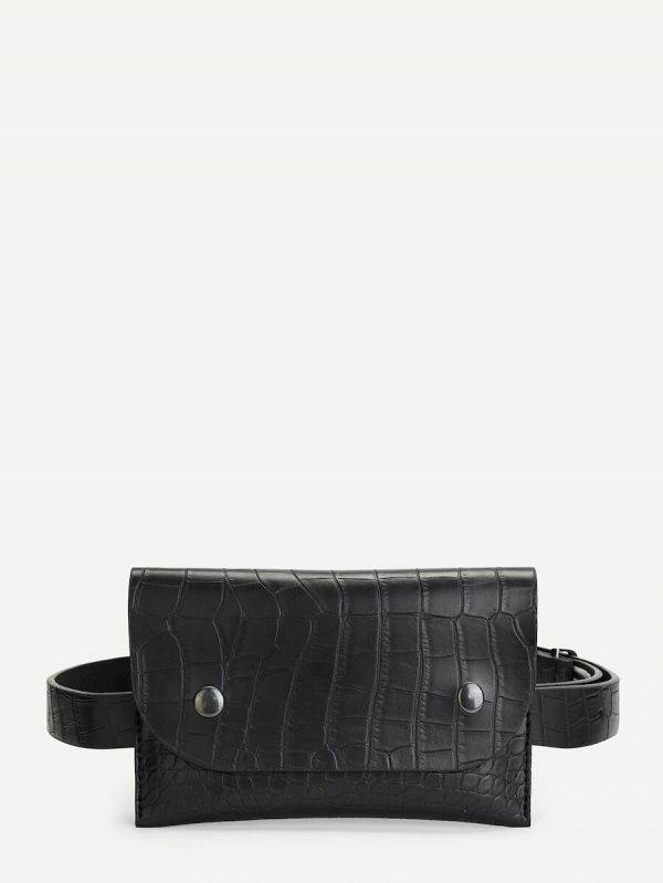 A leather bag of a snake with a waistband