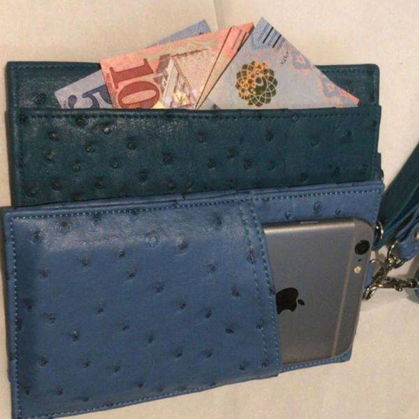 Mobile wallet and crocodile leather cards