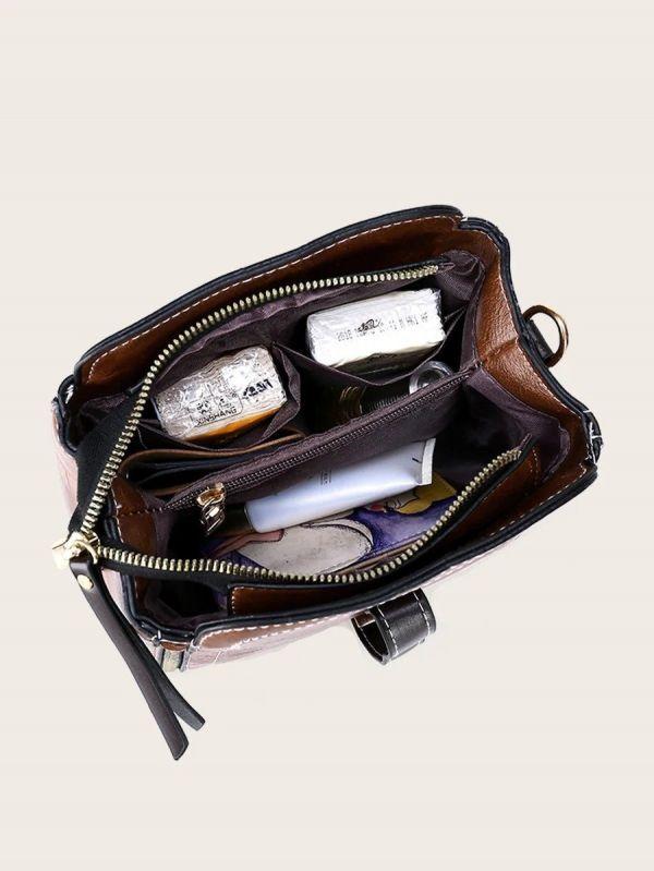 حقيبة جلد بني فاخر بتعليقة دب-4