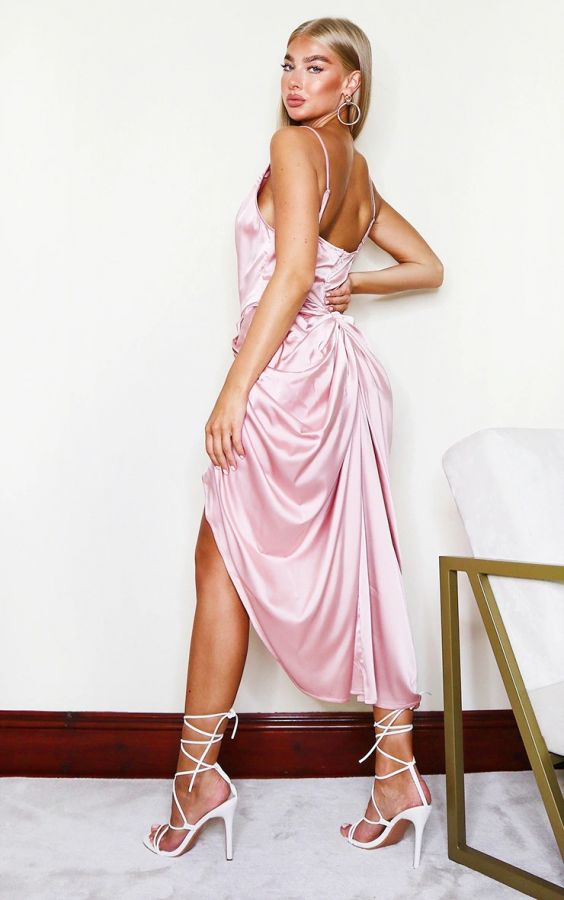 Midi dress with side neck in rose satin