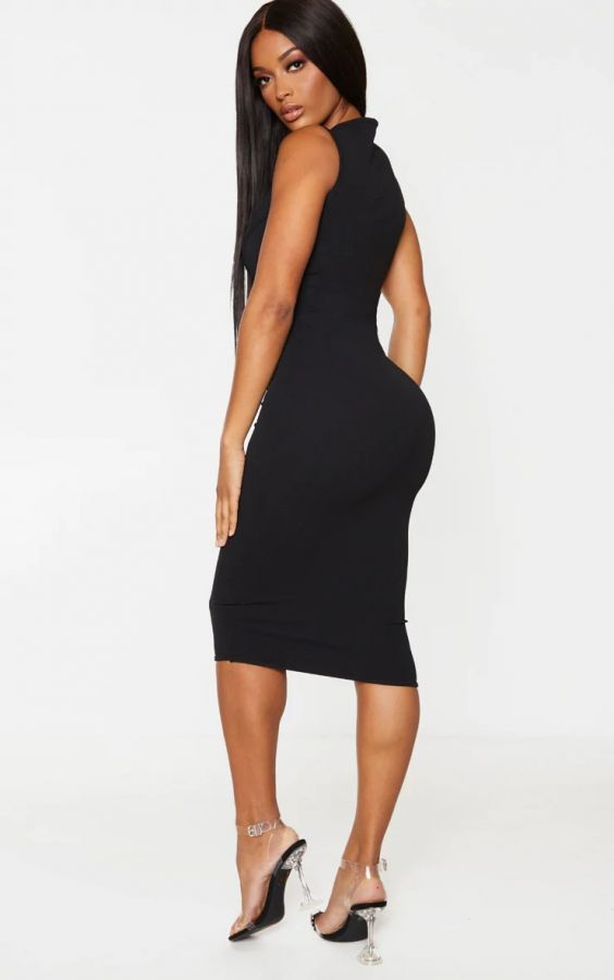 Black midi crepe dress