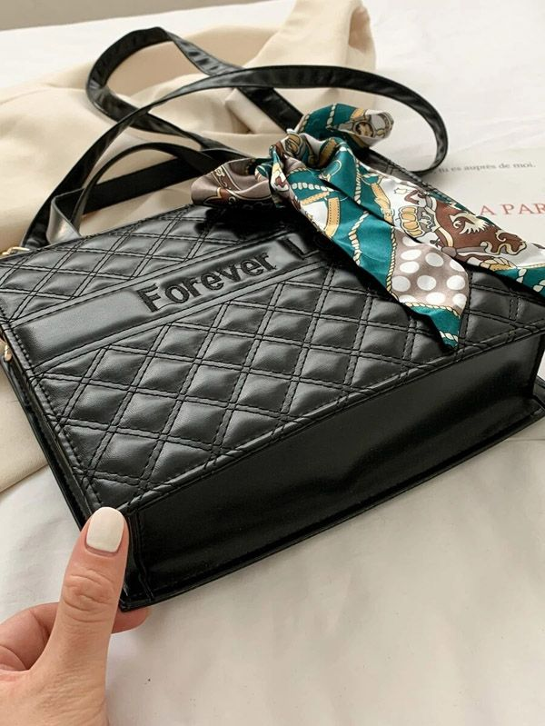 حقيبة يد سوداء  مع وشاح-3