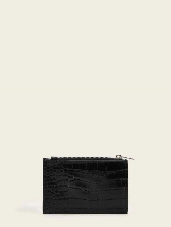 محفظة نسائية جلد التمساح مع حامل بطاقة-3