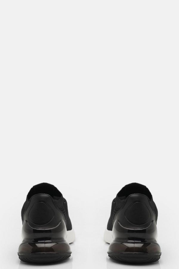حذاء رياضي اسود نسائي محبوك-3