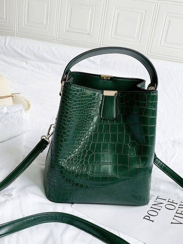 Oil crocodile leather bag