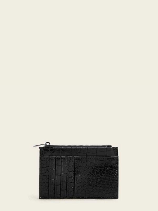 محفظة نسائية جلد التمساح مع حامل بطاقة-4
