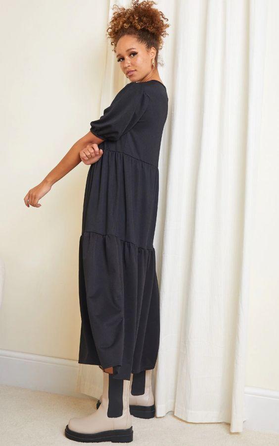 فستان أسود متوسط الطول بأكمام قصيرة بوف-4