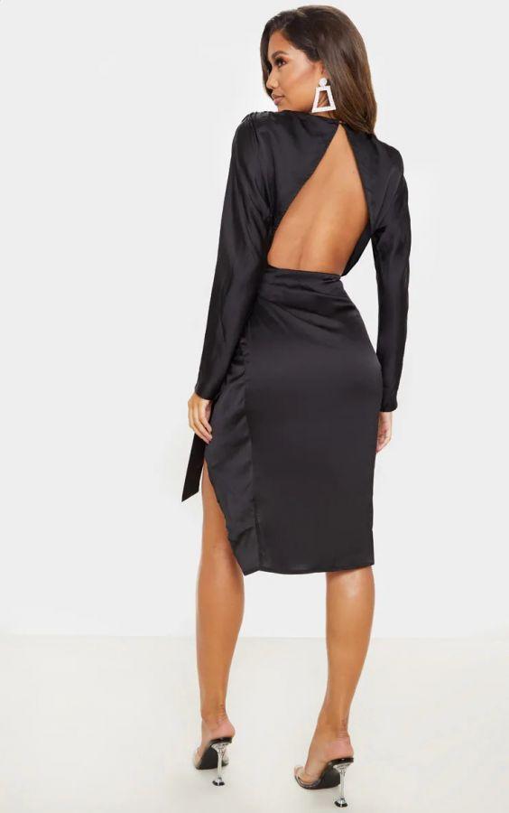 فستان ساتان ميدي-4