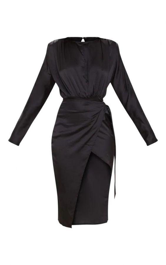 فستان ساتان ميدي-5
