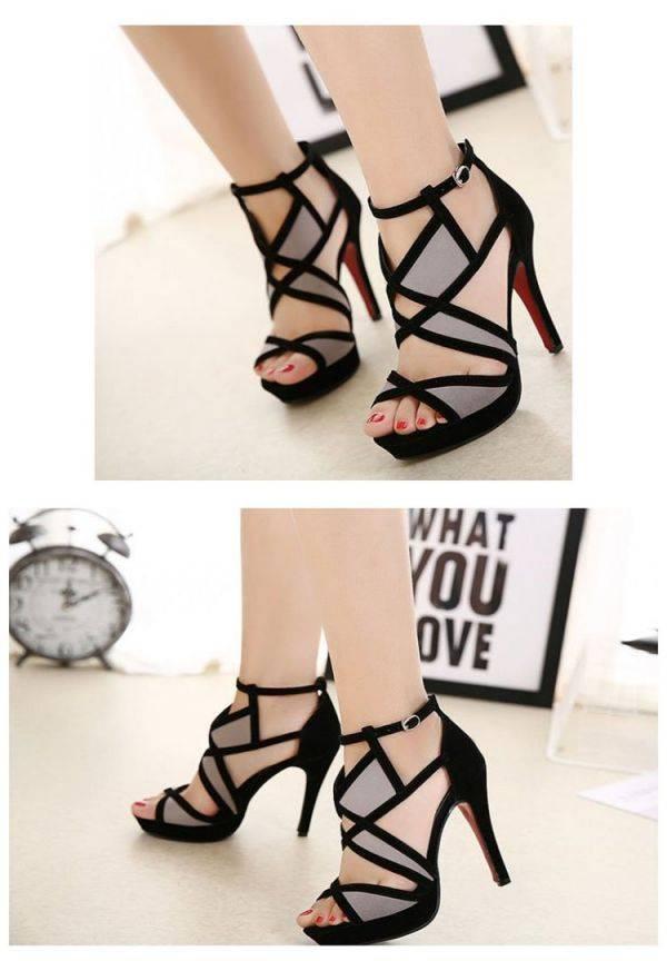 Sandal black summer high heel