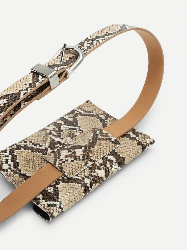 A leather bag built with a snake with a waistband