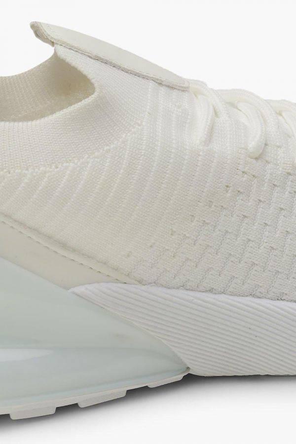 حذاء رياضي ابيض نسائي محبوك-4