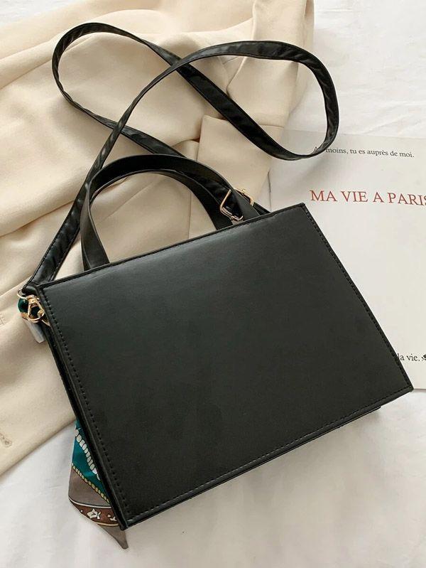 حقيبة يد سوداء  مع وشاح-6