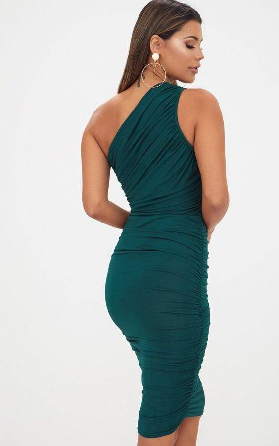 Dark green one shoulder dress