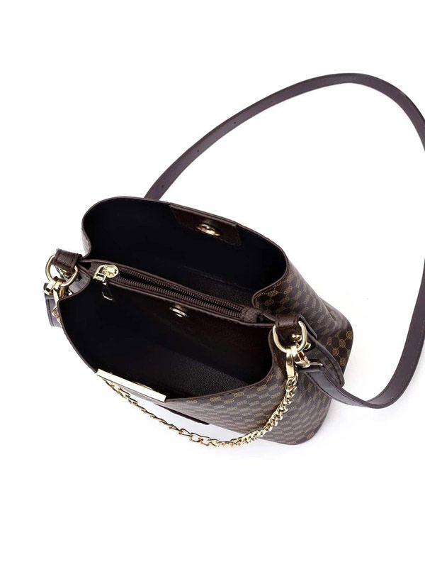 حقيبة بنية بشعار-7