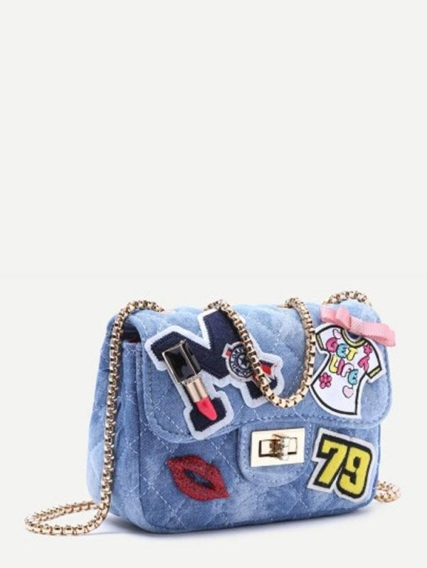 A bag with a chain of blue denim