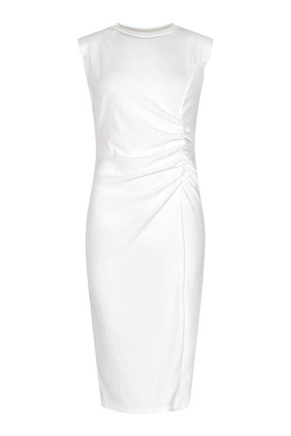 فستان ميدي Rouched Rib-15