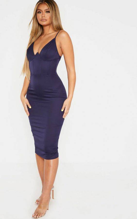 A navy V-neck midi dress