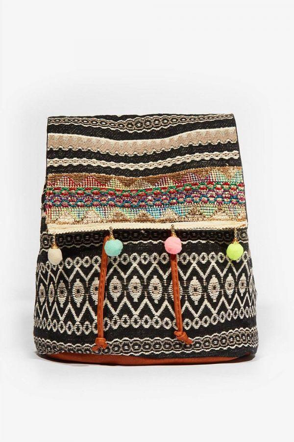 Elisha Black Pantyhose Print Aztec Backpack