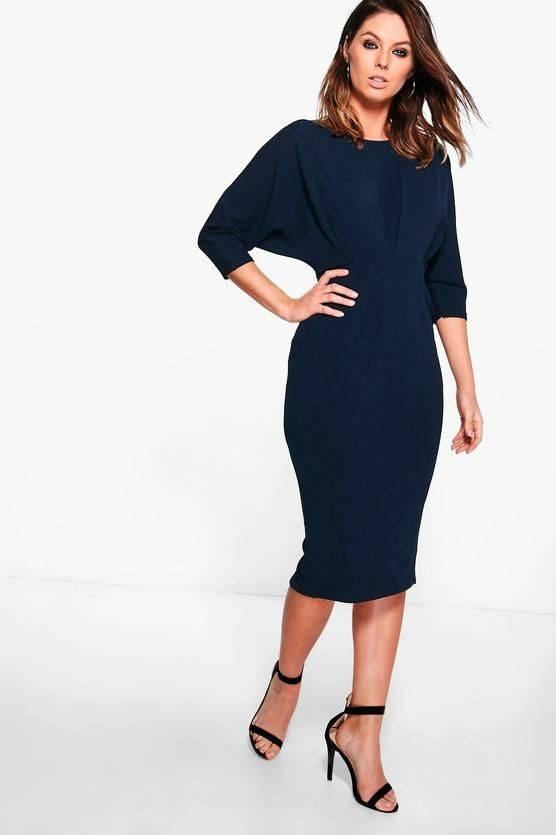 فستان متوسط الطول كحلي اللون