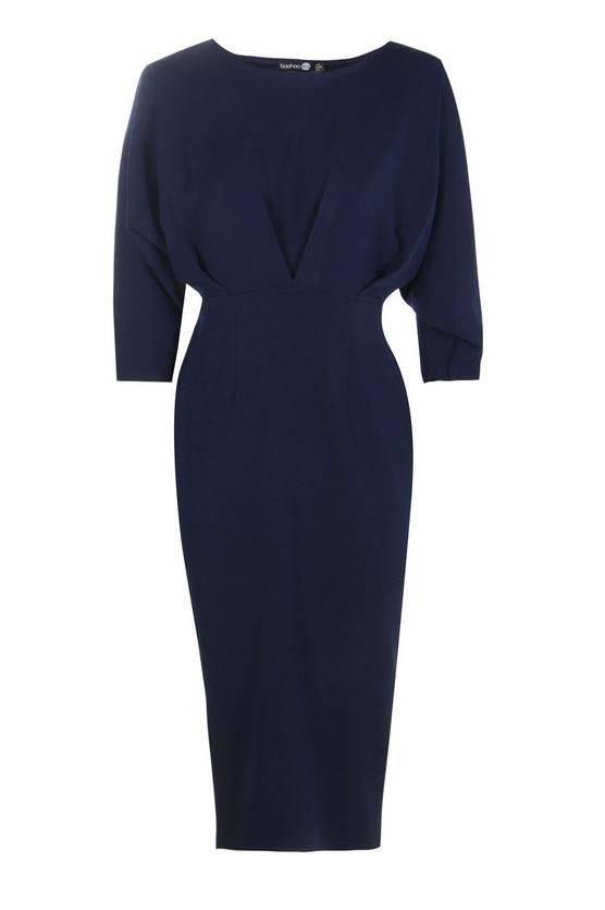 فستان متوسط الطول كحلي اللون-2
