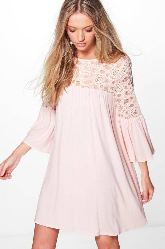 Dress pink medium length with lace
