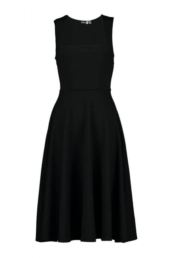 Soft Dress with Square Midi Collar