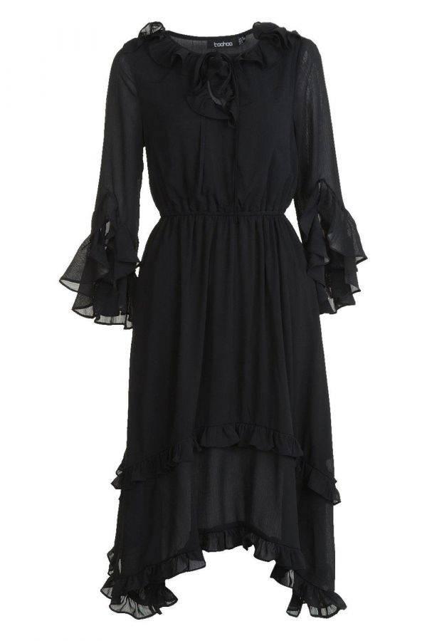 Midi dress with ruffle edges