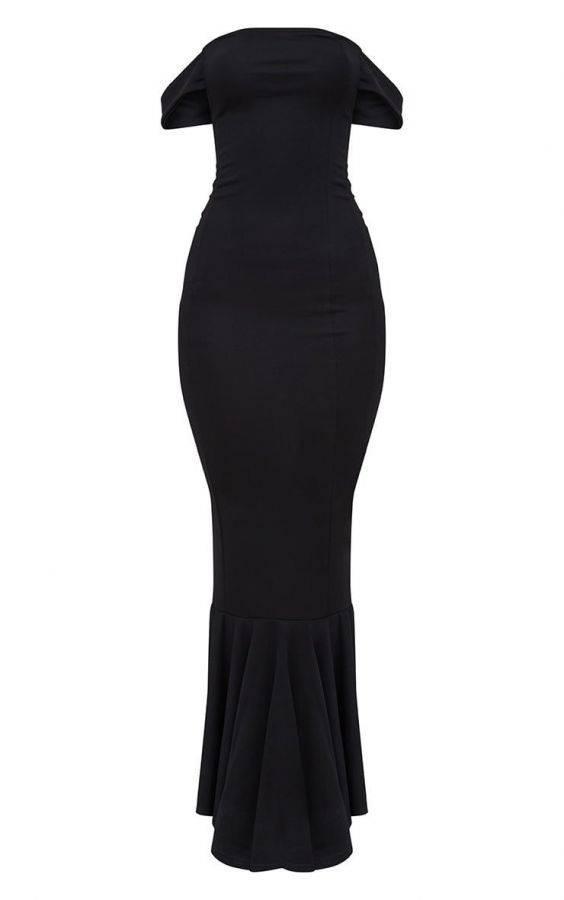 فستان اسود ماكسي ماركة بريتي-5
